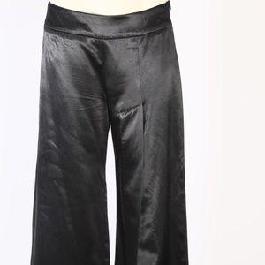Vanesa Palmer Black Satin Wide Leg High Slit Pants
